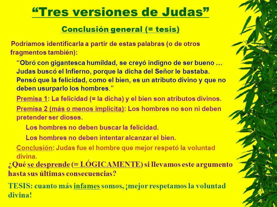 Tres versiones de Judas Conclusión general (= tesis)