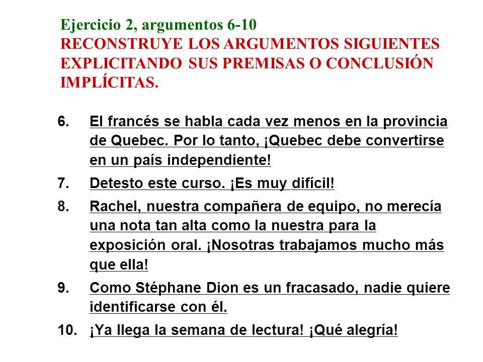 Ejercicio 2, argumentos 6-10