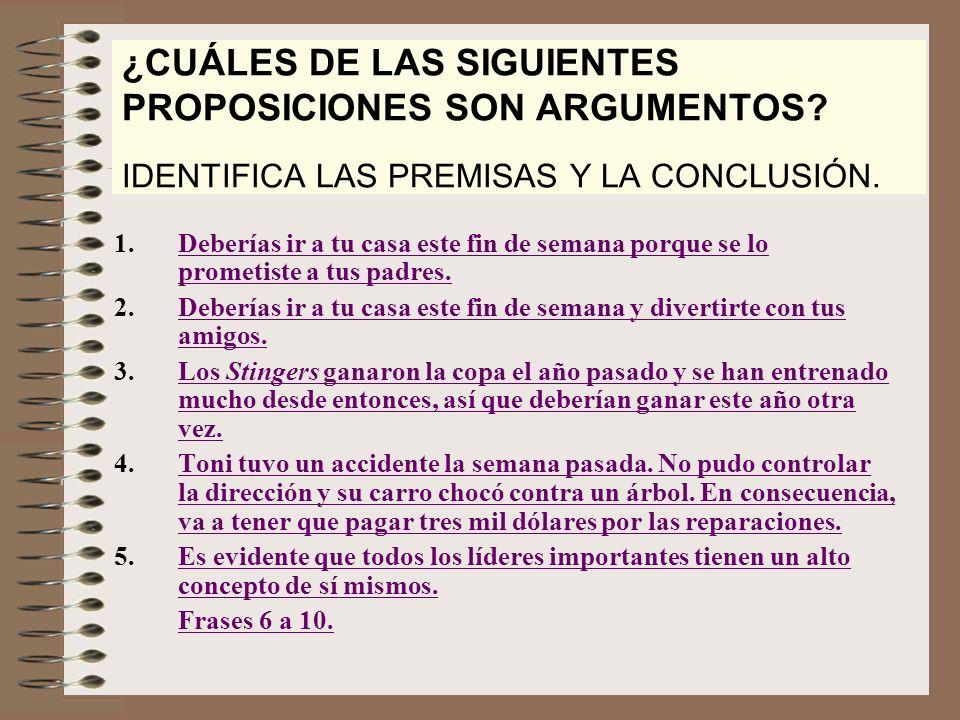 ¿CUÁLES DE LAS SIGUIENTES PROPOSICIONES SON ARGUMENTOS