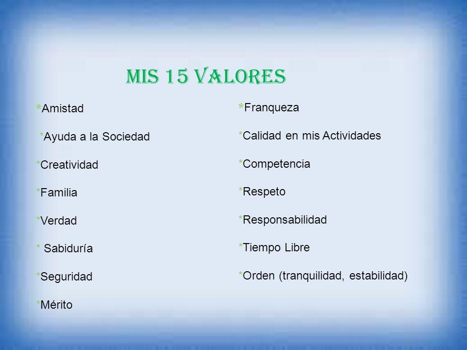 MIS 15 VALORES *Amistad *Franqueza *Ayuda a la Sociedad