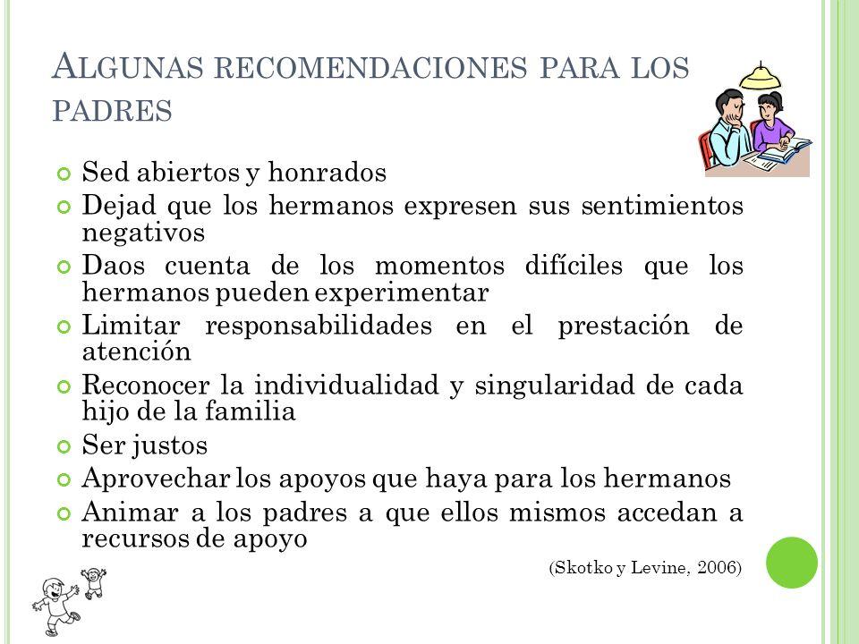 Algunas recomendaciones para los padres