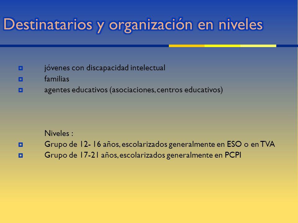 Destinatarios y organización en niveles
