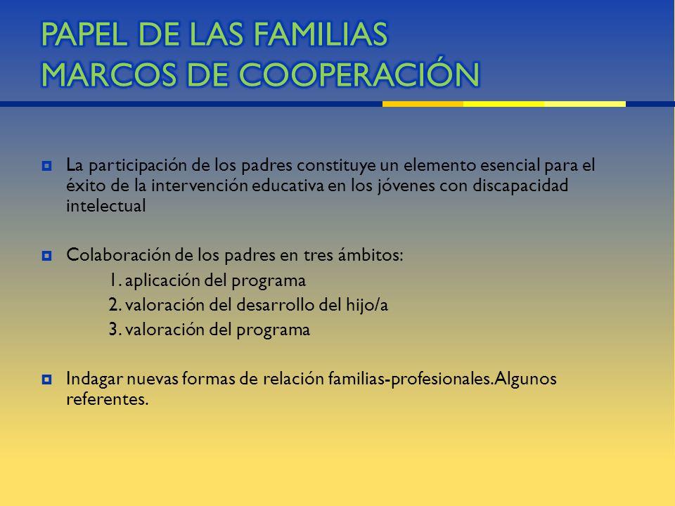 PAPEL DE LAS FAMILIAS MARCOS DE COOPERACIÓN