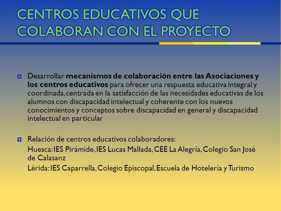 CENTROS EDUCATIVOS QUE COLABORAN CON EL PROYECTO