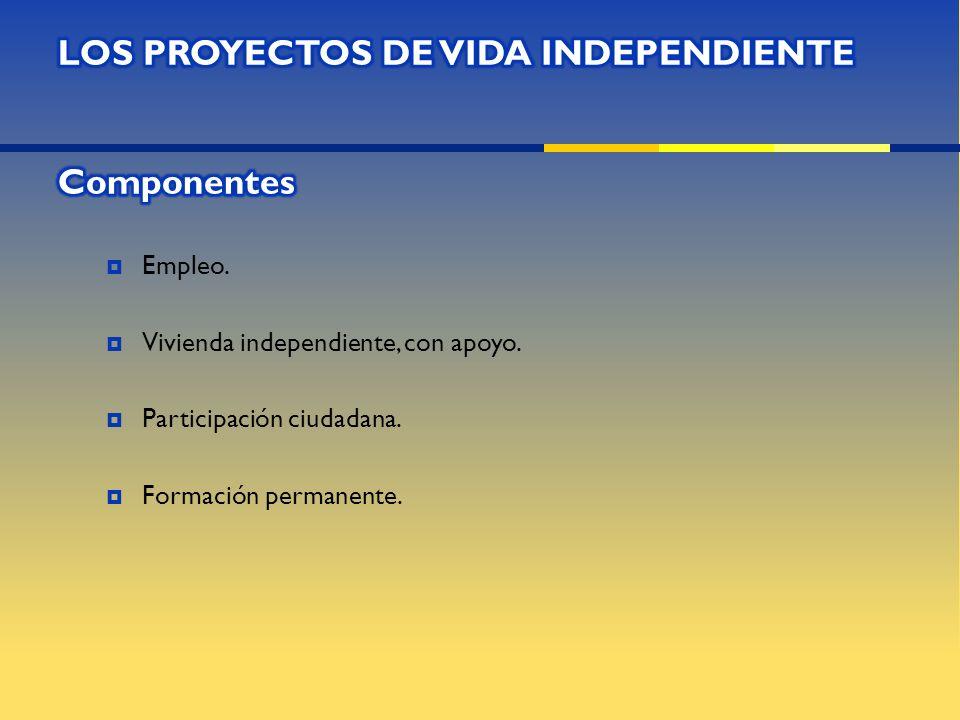 LOS PROYECTOS DE VIDA INDEPENDIENTE Componentes