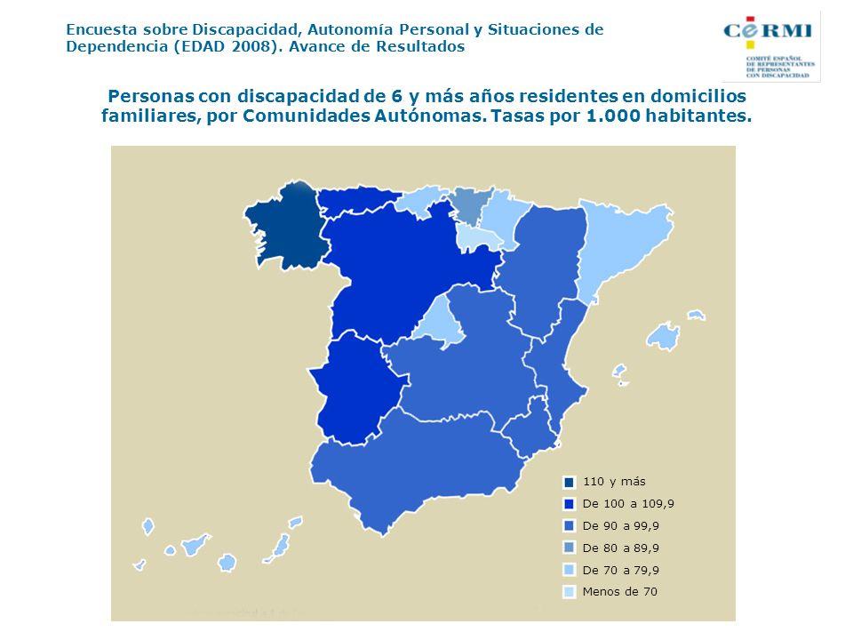 Personas con discapacidad de 6 y más años residentes en domicilios familiares, por Comunidades Autónomas. Tasas por 1.000 habitantes.
