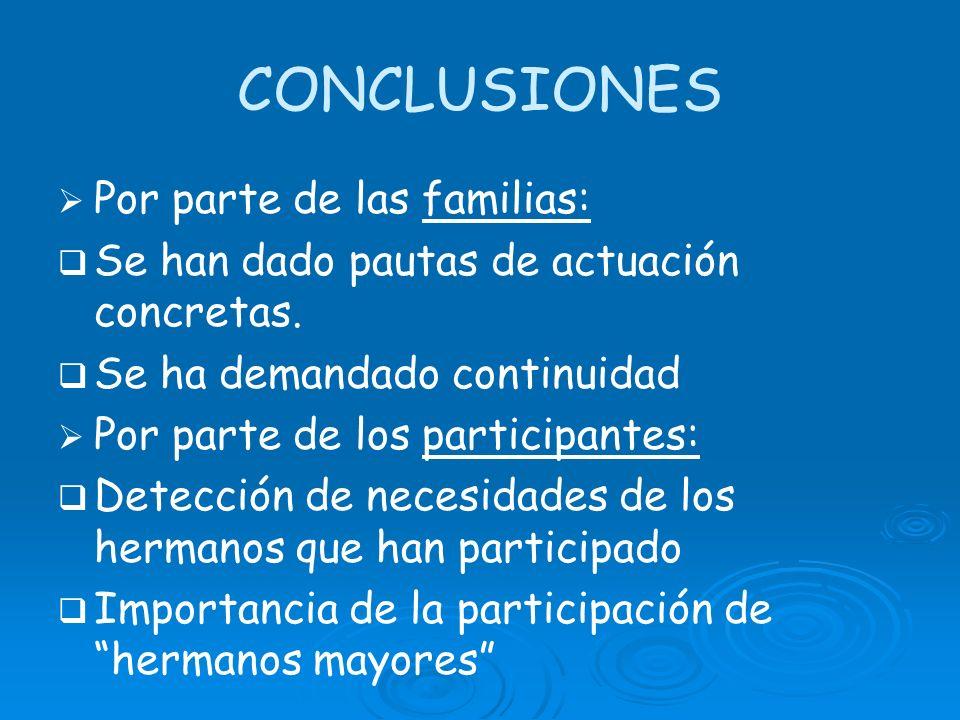 CONCLUSIONES Por parte de las familias:
