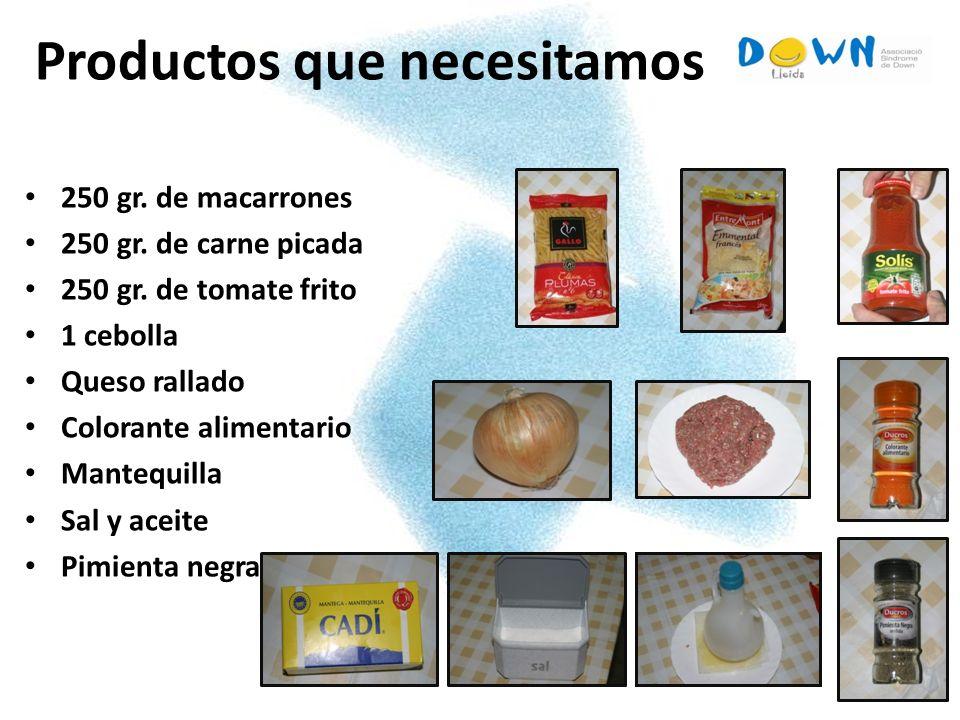 Productos que necesitamos