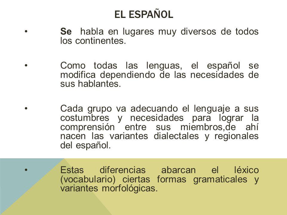 El español Se habla en lugares muy diversos de todos los continentes.
