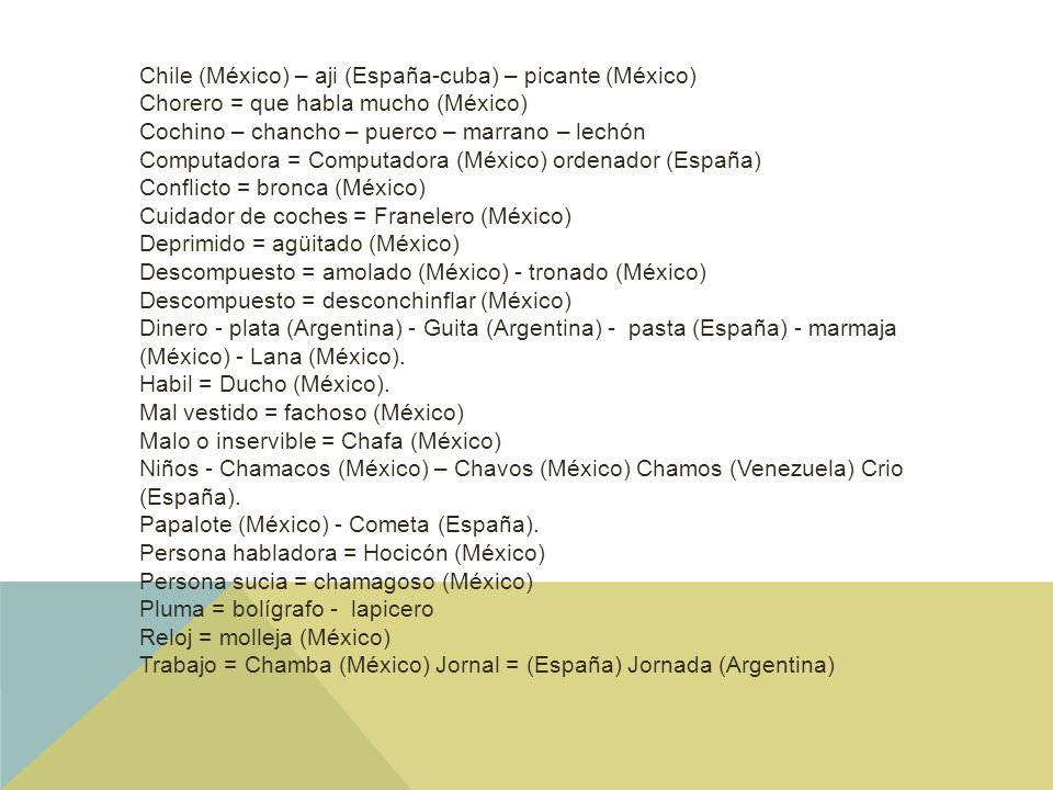 Chile (México) – aji (España-cuba) – picante (México)