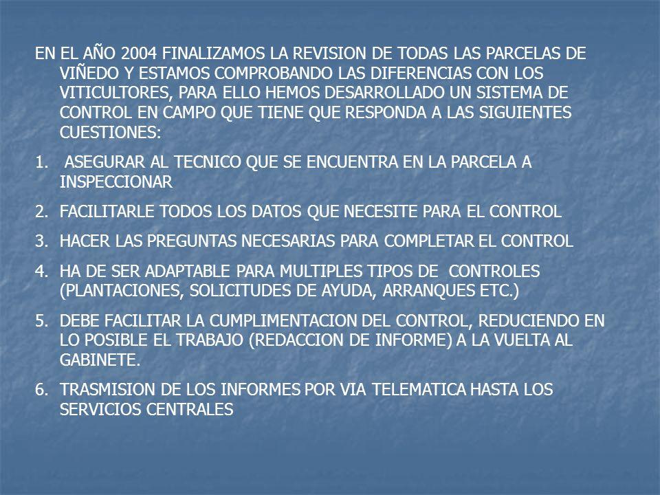 EN EL AÑO 2004 FINALIZAMOS LA REVISION DE TODAS LAS PARCELAS DE VIÑEDO Y ESTAMOS COMPROBANDO LAS DIFERENCIAS CON LOS VITICULTORES, PARA ELLO HEMOS DESARROLLADO UN SISTEMA DE CONTROL EN CAMPO QUE TIENE QUE RESPONDA A LAS SIGUIENTES CUESTIONES:
