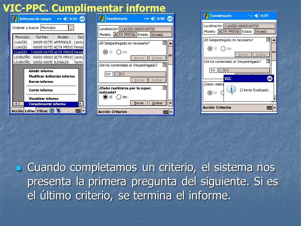 VIC-PPC. Cumplimentar informe