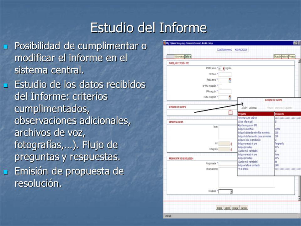 Estudio del Informe Posibilidad de cumplimentar o modificar el informe en el sistema central.