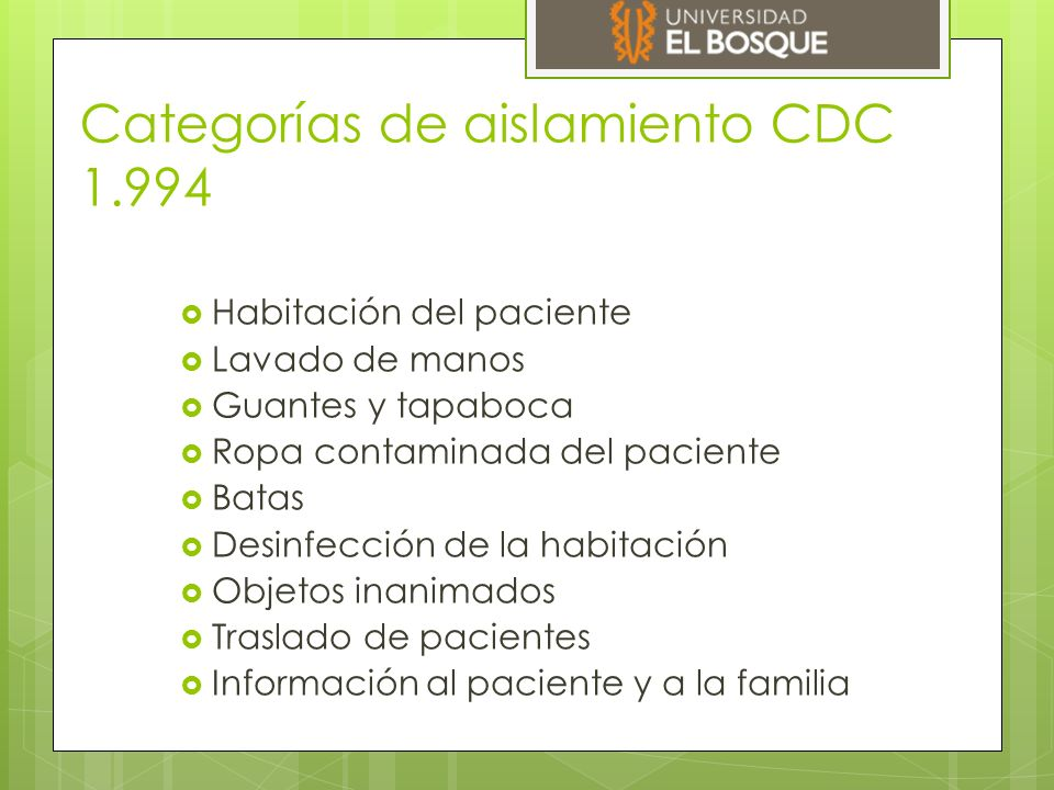 Categorías de aislamiento CDC 1.994