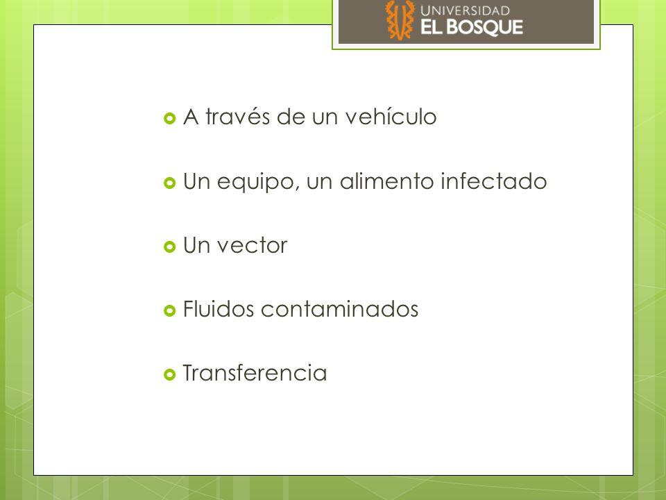 A través de un vehículo Un equipo, un alimento infectado.