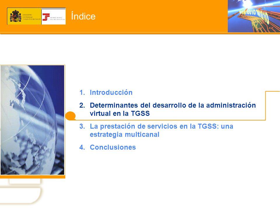 Índice Introducción. Determinantes del desarrollo de la administración virtual en la TGSS.
