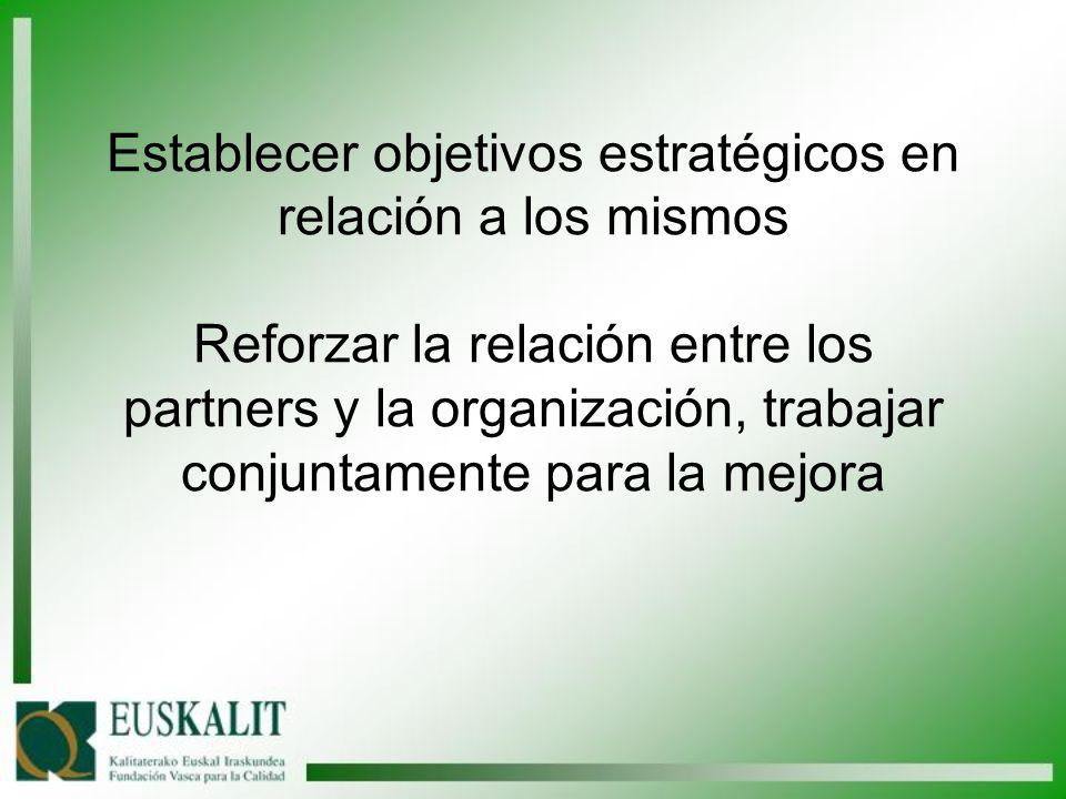 Establecer objetivos estratégicos en relación a los mismos Reforzar la relación entre los partners y la organización, trabajar conjuntamente para la mejora