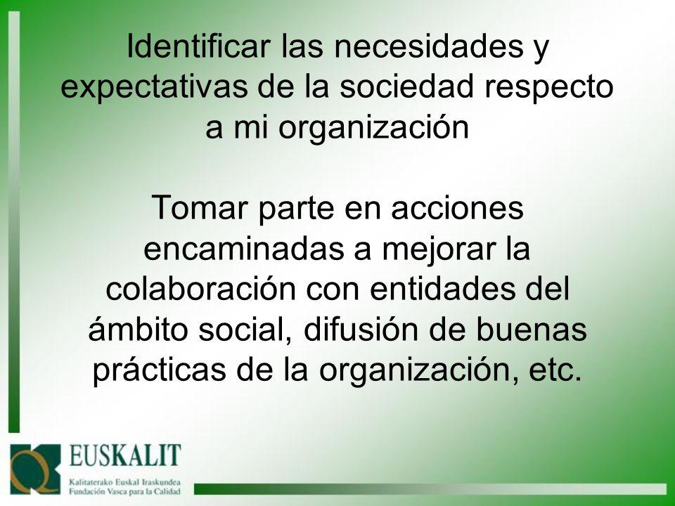 Identificar las necesidades y expectativas de la sociedad respecto a mi organización Tomar parte en acciones encaminadas a mejorar la colaboración con entidades del ámbito social, difusión de buenas prácticas de la organización, etc.