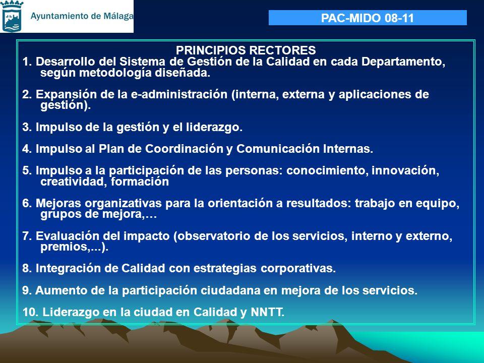 PAC-MIDO 08-11 PRINCIPIOS RECTORES. 1. Desarrollo del Sistema de Gestión de la Calidad en cada Departamento, según metodología diseñada.