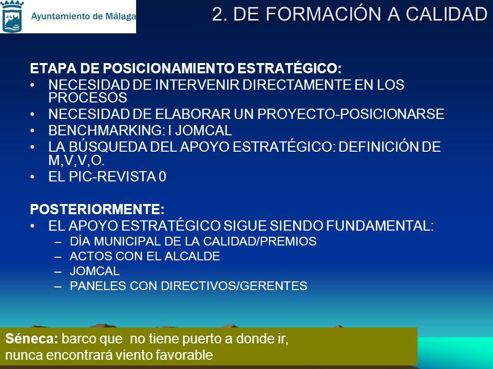 2. DE FORMACIÓN A CALIDAD ETAPA DE POSICIONAMIENTO ESTRATÉGICO: