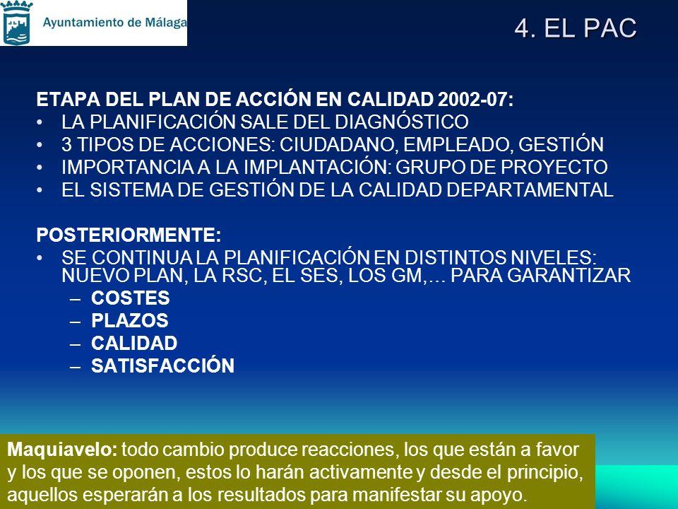 4. EL PAC ETAPA DEL PLAN DE ACCIÓN EN CALIDAD 2002-07: