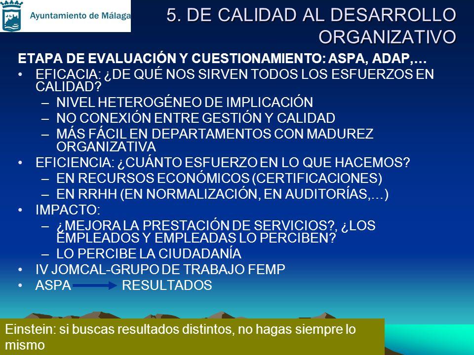 5. DE CALIDAD AL DESARROLLO ORGANIZATIVO