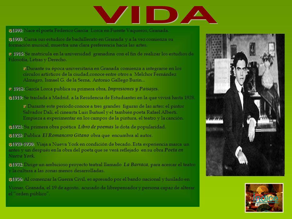 VIDA 1898: Nace el poeta Federico García Lorca en Fuente Vaqueros, Granada.