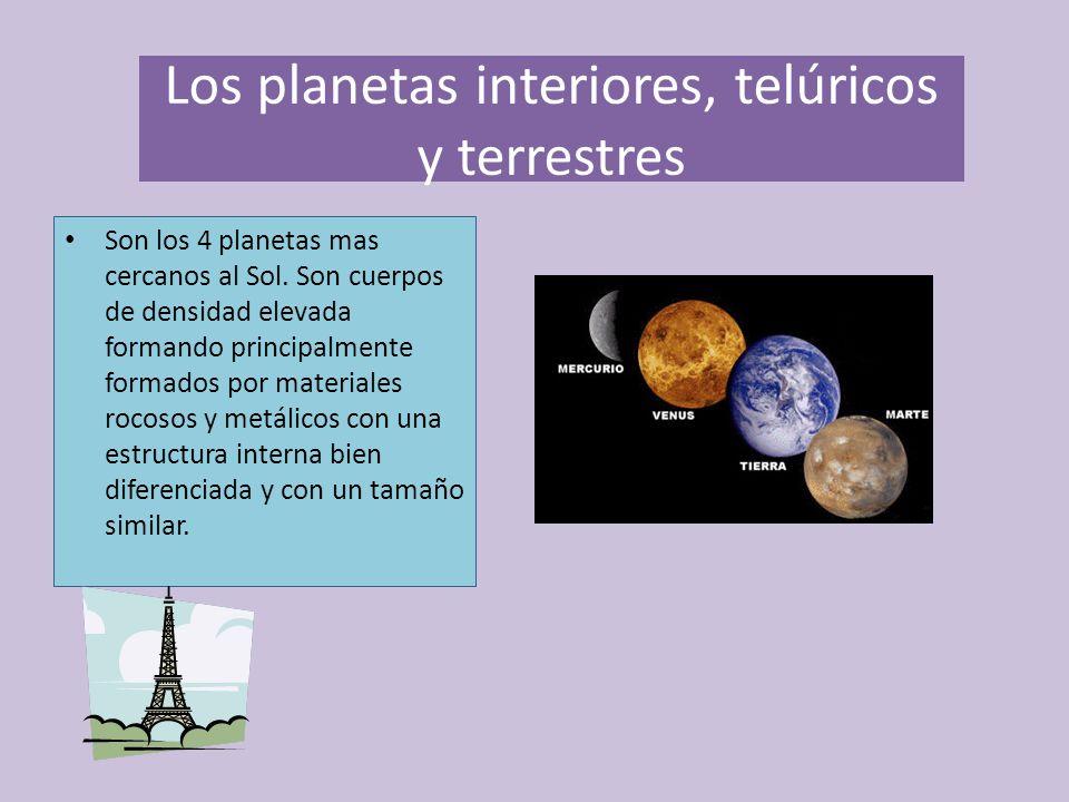 El cosmo y el universo iliana cordova ppt descargar - Caracteristicas de los planetas interiores ...