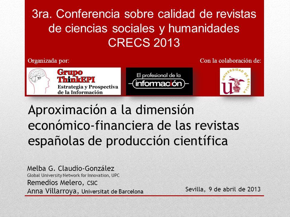 3ra. Conferencia sobre calidad de revistas de ciencias sociales y humanidades CRECS 2013