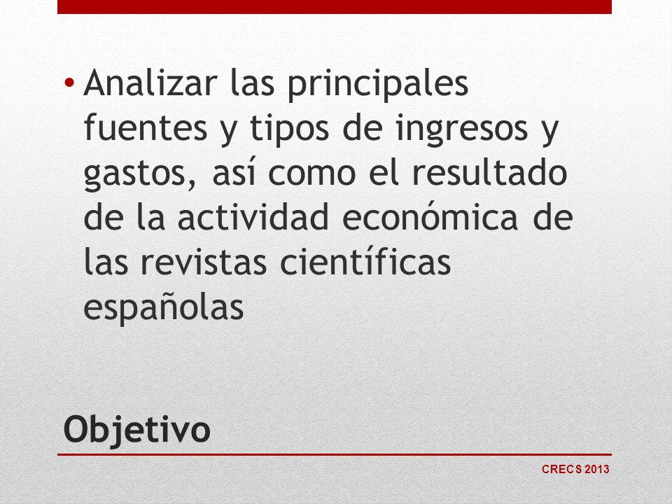 Analizar las principales fuentes y tipos de ingresos y gastos, así como el resultado de la actividad económica de las revistas científicas españolas