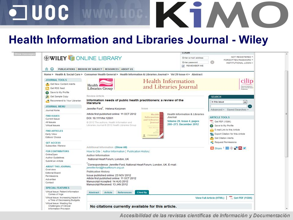 Health Information and Libraries Journal - Wiley