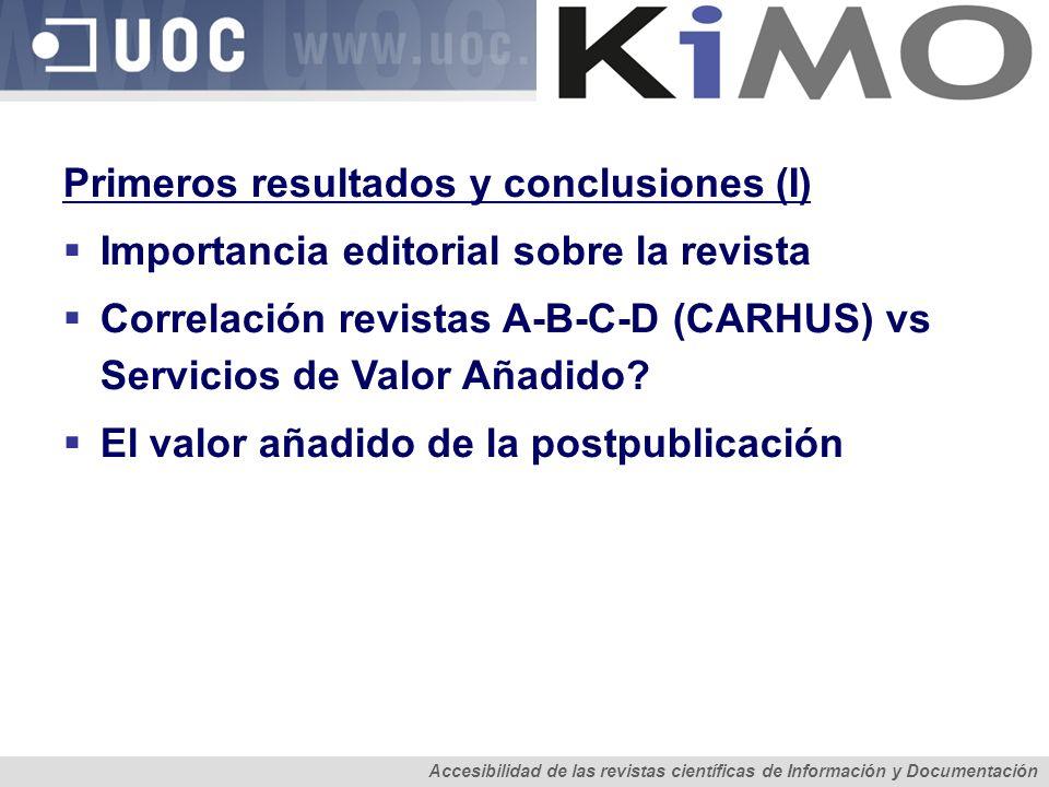 Primeros resultados y conclusiones (I)
