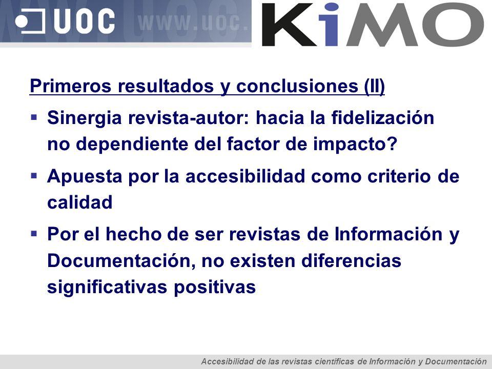 Primeros resultados y conclusiones (II)