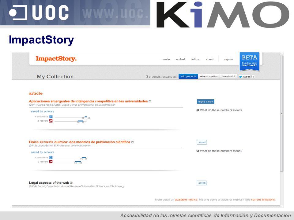 ImpactStory Accesibilidad de las revistas científicas de Información y Documentación.