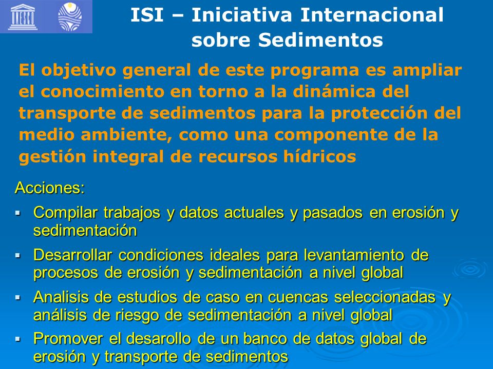 ISI – Iniciativa Internacional sobre Sedimentos