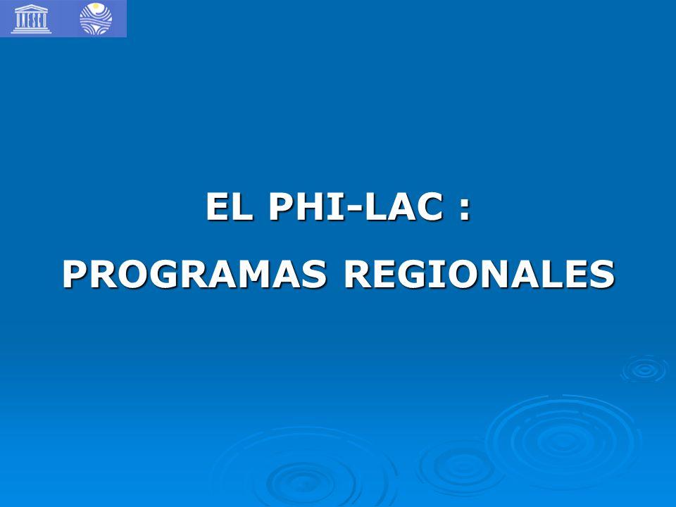 EL PHI-LAC : PROGRAMAS REGIONALES