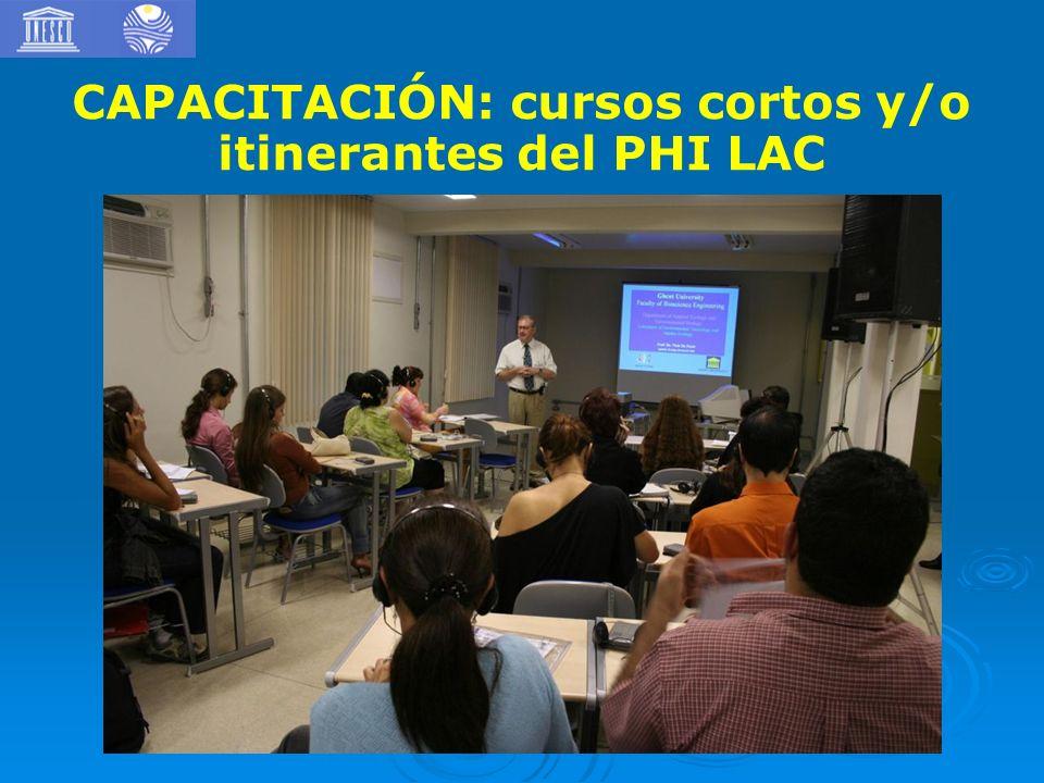 CAPACITACIÓN: cursos cortos y/o itinerantes del PHI LAC