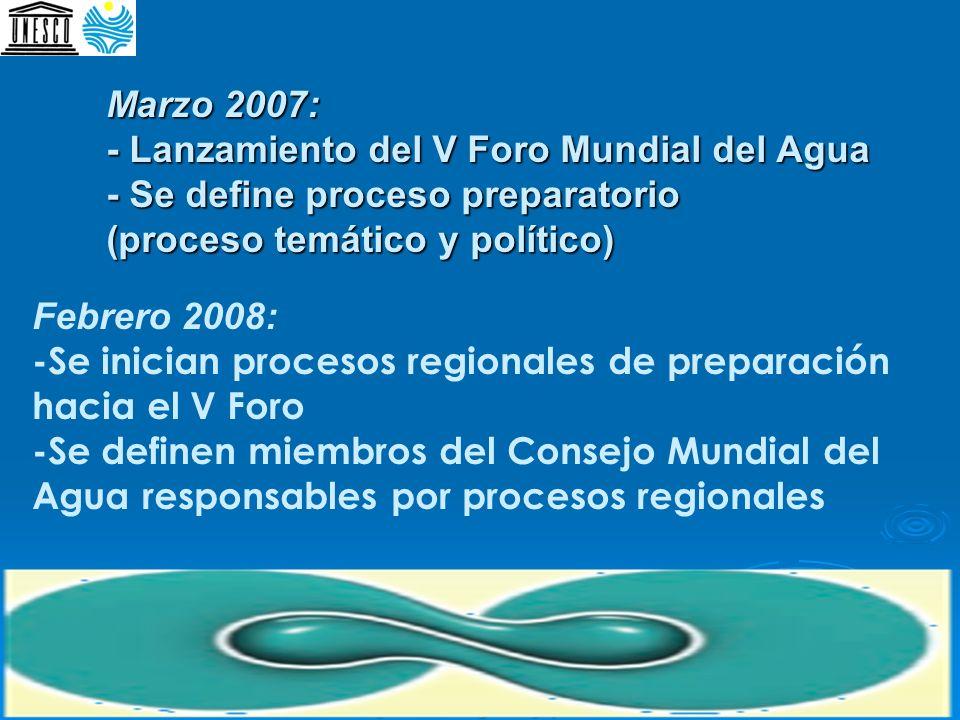 Marzo 2007: - Lanzamiento del V Foro Mundial del Agua - Se define proceso preparatorio (proceso temático y político)