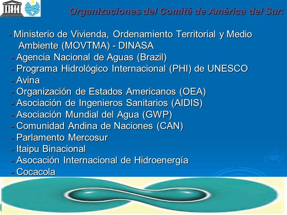 Organizaciones del Comité de América del Sur: - Ministerio de Vivienda, Ordenamiento Territorial y Medio Ambiente (MOVTMA) - DINASA - Agencia Nacional de Aguas (Brazil) - Programa Hidrológico Internacional (PHI) de UNESCO - Avina - Organización de Estados Americanos (OEA) - Asociación de Ingenieros Sanitarios (AIDIS) - Asociación Mundial del Agua (GWP) - Comunidad Andina de Naciones (CAN) - Parlamento Mercosur - Itaipu Binacional - Asocación Internacional de Hidroenergía - Cocacola