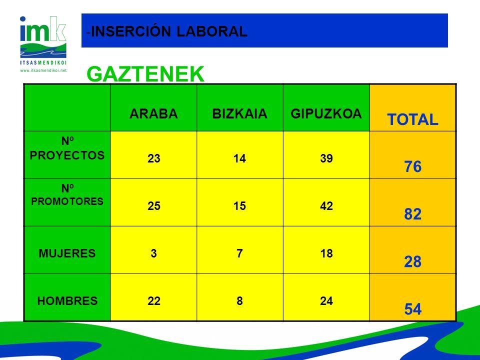 GAZTENEK TOTAL 76 82 28 54 -INSERCIÓN LABORAL ARABA BIZKAIA GIPUZKOA