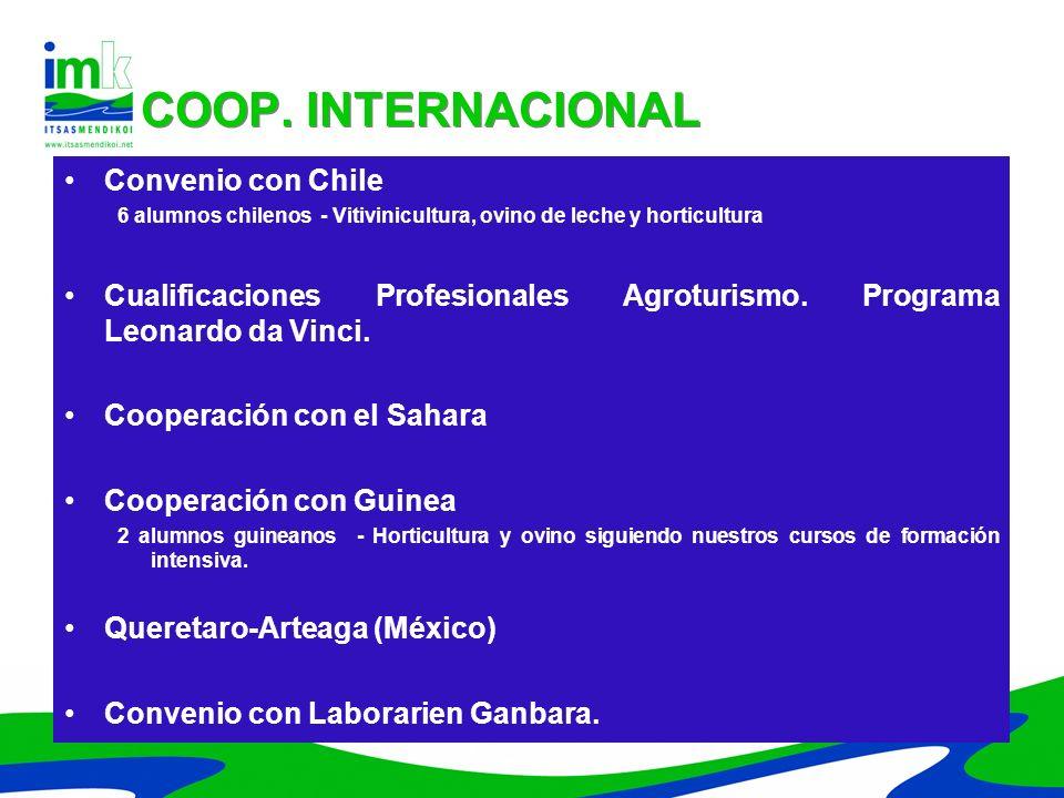 COOP. INTERNACIONAL Convenio con Chile
