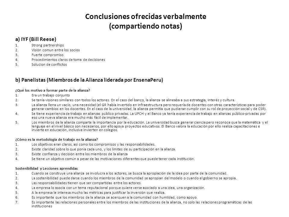 Conclusiones ofrecidas verbalmente (compartiendo notas)
