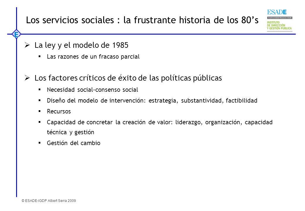Los servicios sociales : la frustrante historia de los 80's