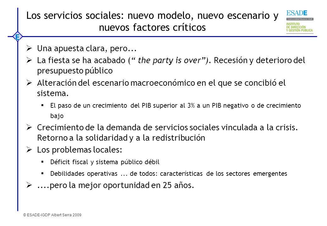Los servicios sociales: nuevo modelo, nuevo escenario y nuevos factores críticos