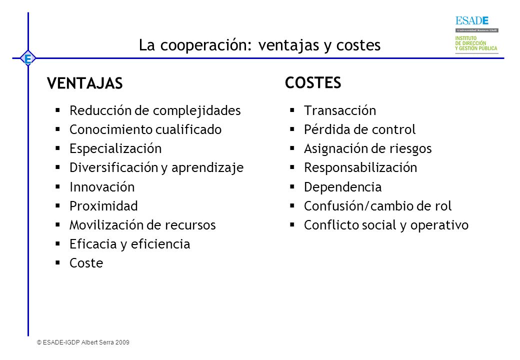 La cooperación: ventajas y costes