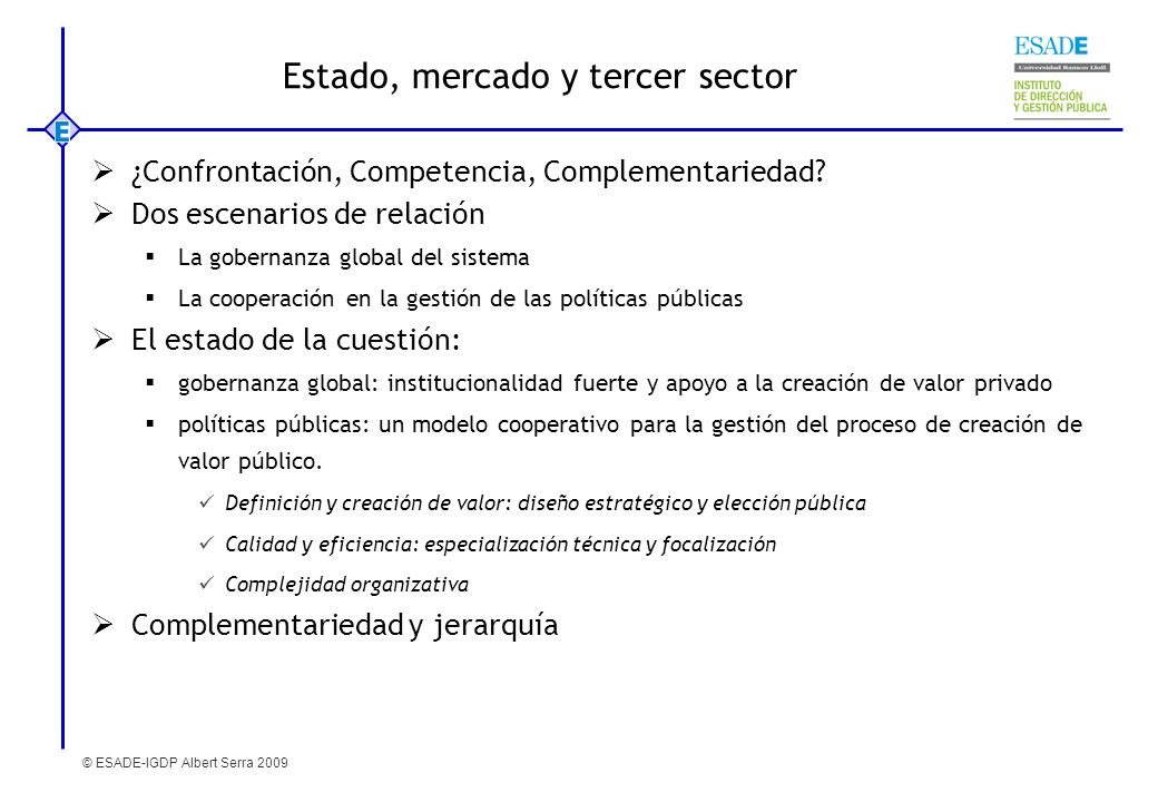 Estado, mercado y tercer sector
