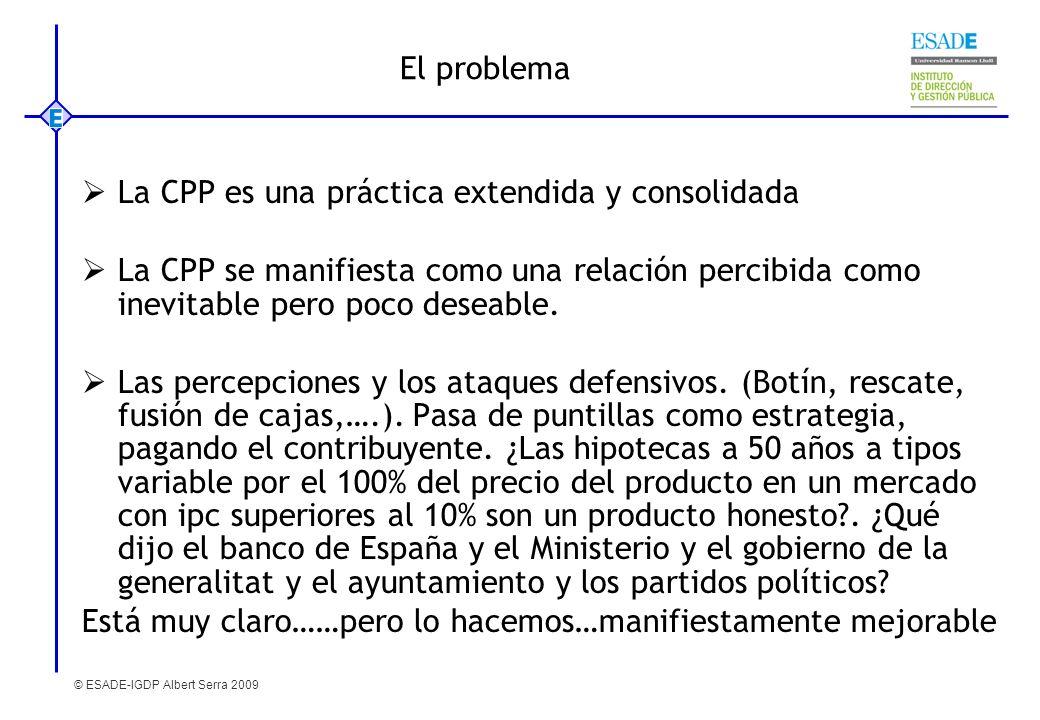 El problemaLa CPP es una práctica extendida y consolidada. La CPP se manifiesta como una relación percibida como inevitable pero poco deseable.