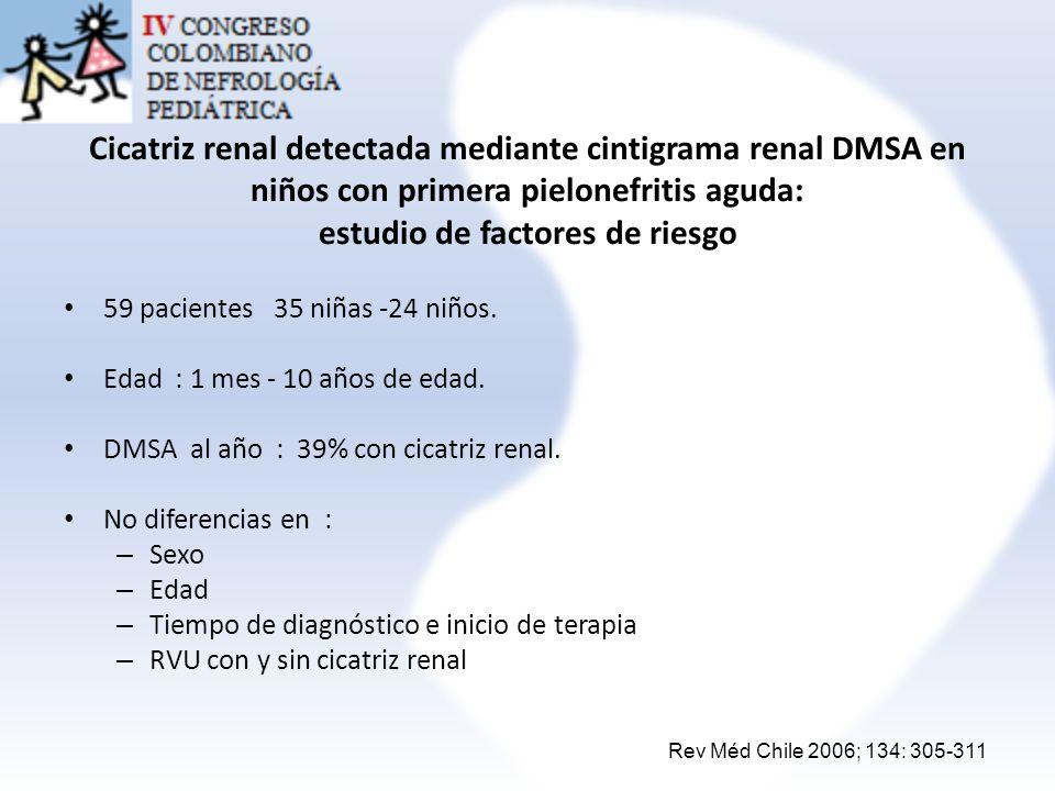 Cicatriz renal detectada mediante cintigrama renal DMSA en niños con primera pielonefritis aguda: estudio de factores de riesgo