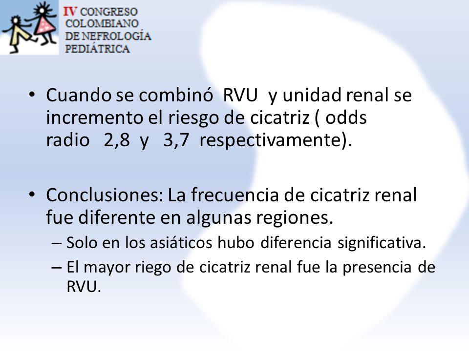 Cuando se combinó RVU y unidad renal se incremento el riesgo de cicatriz ( odds radio 2,8 y 3,7 respectivamente).