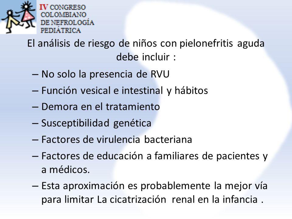 El análisis de riesgo de niños con pielonefritis aguda debe incluir :